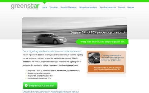 Screenshot of Home Page gsstatistics.com - GreenStar Statistics - Rijgedrag verbeteren, brandstof besparen - - captured Oct. 3, 2014