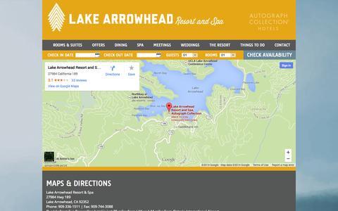 Screenshot of Maps & Directions Page lakearrowheadresort.com - San Bernardino Hotels | Lake Arrowhead Lodging | Lake Arrowhead Resort - captured Oct. 1, 2014