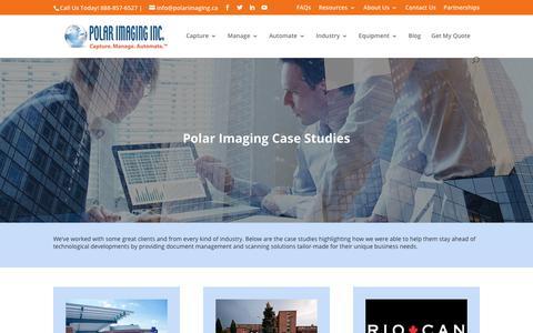 Screenshot of Case Studies Page polarimaging.ca - Case Studies - Polar Imaging - captured Sept. 28, 2018