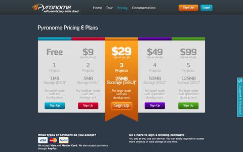 Screenshot of Pricing Page pyronome.com - Pyronome Pricing & Plans - captured Feb. 2, 2016