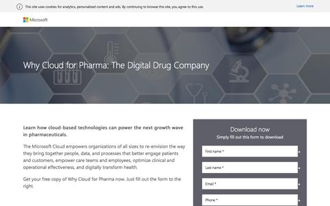 Screenshot of Landing Page microsoft.com - Why Cloud for Pharma: The Digital Drug Company - Microsoft - captured Oct. 27, 2017