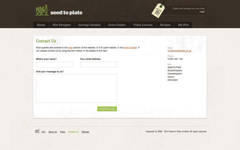Screenshot of Contact Page seedtoplate.co.uk - Organic Vegetable Seeds || Seed to Plate - Grow your own vegetables from seed - captured Oct. 3, 2014
