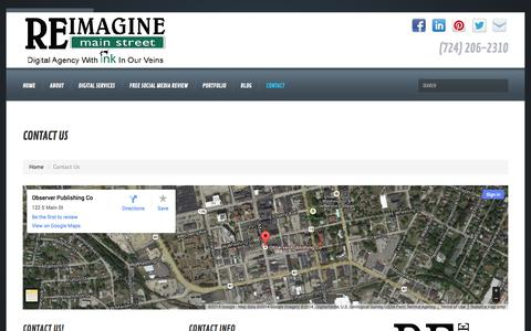 Screenshot of Contact Page reimaginemainstreet.com - Contact Us - Reimagine Main Street - captured Oct. 7, 2014