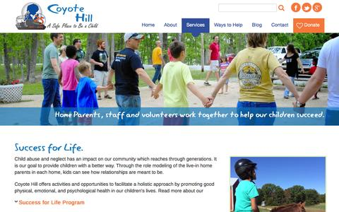 Screenshot of Services Page coyotehill.org - Success for Life. | Coyote Hill - captured Jan. 31, 2016