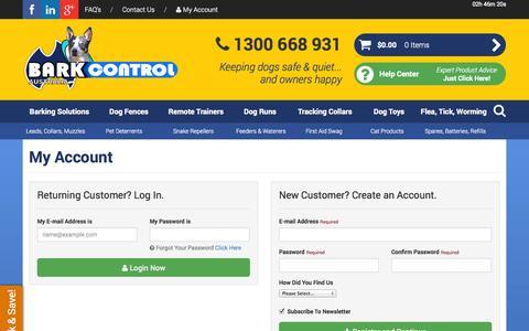 Screenshot of Login Page barkcontrol.com.au captured Oct. 5, 2014