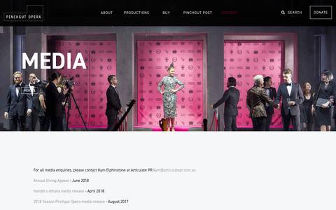 Screenshot of Press Page pinchgutopera.com.au - Media - PINCHGUT OPERA - captured Aug. 4, 2019