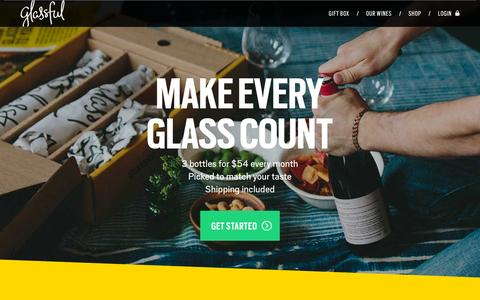 Screenshot of Home Page glassful.com - Glassful - Welcome to a new way to wine. - captured Dec. 1, 2015
