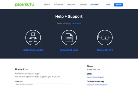 Screenshot of Support Page pagerduty.com - Help + Support - PagerDuty - captured Nov. 23, 2015