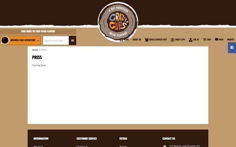 Screenshot of Press Page crazycups.com - Press - captured Sept. 30, 2014