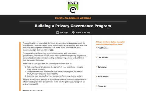 Screenshot of Landing Page trustarc.com - [On-Demand Privacy Webinar] Building a Privacy Governance Program - captured July 27, 2017