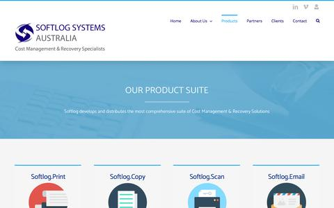 Screenshot of Products Page softlogaustralia.com - Our Products – Softlog Systems Australia - captured April 30, 2017