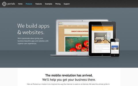 Screenshot of Products Page portalsapp.com - Portals | Custom Website & Application Design - captured Oct. 5, 2014