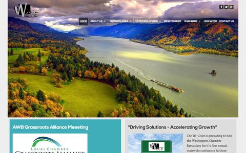 Screenshot of Home Page wcce.org - Washington Chamber of Commerce Executives - Home - captured Aug. 14, 2015