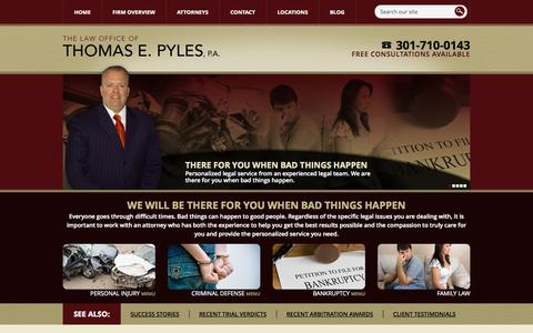 Screenshot of Home Page tompyleslaw.com - Waldorf MD Personal Injury Lawyer | St. Charles Accident Attorney | Maryland Auto Accident - captured Oct. 2, 2014
