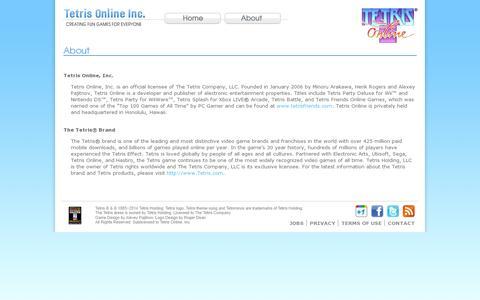 Screenshot of About Page tetrisonline.com - About - Tetris Online, Inc. - captured July 20, 2014