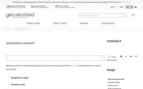 Screenshot of FAQ Page gocustomized.com - Questions & Contact - captured Sept. 29, 2018