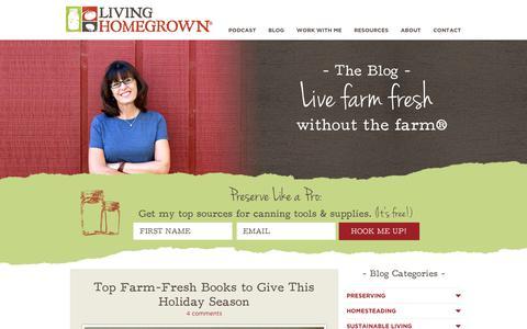 Screenshot of Blog livinghomegrown.com - Living Homegrown - captured Sept. 22, 2018
