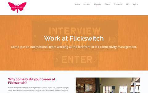 Screenshot of Jobs Page flickswitch.co.za - Career at Flickswitch | IOT | M2M Communication | SIM Management - captured June 6, 2017