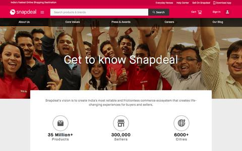 Screenshot of About Page snapdeal.com - About Us: Snapdeal.com - India's Largest Online Marketplace - captured Nov. 2, 2016