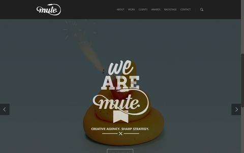 Screenshot of Home Page agence-mute.fr - Agence de communication Lyon - MUTE - Digital, Motion, Branding - captured Feb. 26, 2016