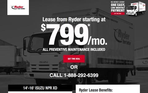 Screenshot of Landing Page ryder.com - LIMITED TIME OFFER - $799 Per Month Lease - captured Sept. 30, 2016