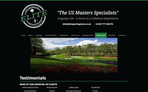Screenshot of Testimonials Page elitesportingtours.co.uk - Elite Sporting tours UK ltd - Testimonials - captured Oct. 2, 2014