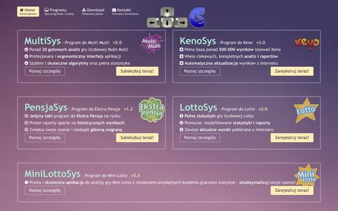 Screenshot of Home Page cichy.net.pl - Programy do Keno, Multi Multi, Ekstra Pensja, Lotto i Mini Lotto :: Cichy Software - captured May 28, 2016