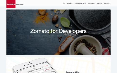 Screenshot of Developers Page zomato.com - Zomato Developers - captured June 2, 2016