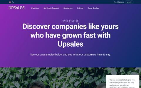 Screenshot of Case Studies Page upsales.com - Case Studies - captured April 21, 2019