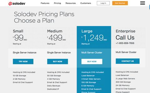 Screenshot of Pricing Page solodev.com - Pricing - captured June 25, 2016