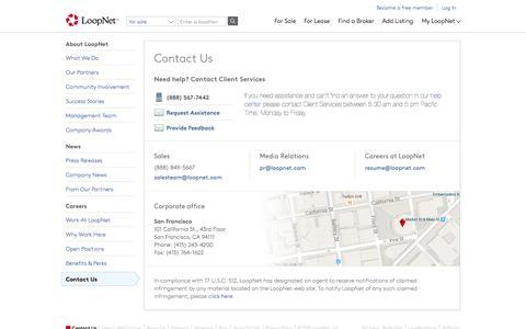 Screenshot of Contact Page loopnet.com - Contact us - LoopNet.com - captured Nov. 10, 2015