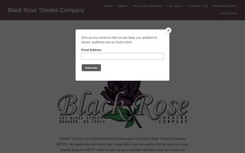 Screenshot of About Page wordpress.com - About – Black Rose Theatre Company - captured Oct. 25, 2018