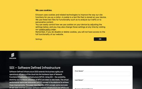 Screenshot of Landing Page ericsson.com - SDI – Software Defined Infrastructure - captured May 10, 2019