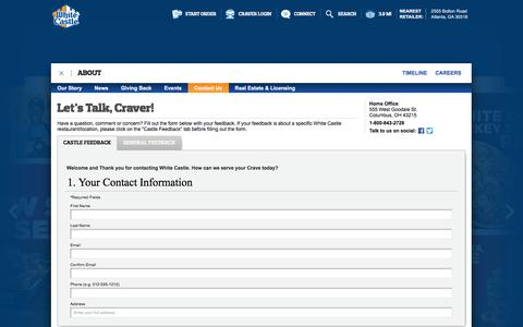 Screenshot of Contact Page whitecastle.com - White Castle - captured Dec. 3, 2016