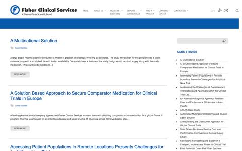 Screenshot of Case Studies Page fisherclinicalservices.com - Case Studies Archives - Fisher Clinical Services - captured Oct. 29, 2014