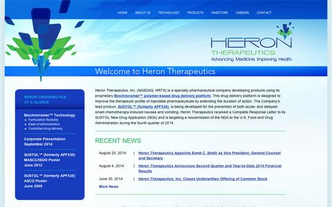 Screenshot of Home Page appharma.com - Heron Therapeutics . A Specialty Pharmaceutical Company - captured Sept. 10, 2014