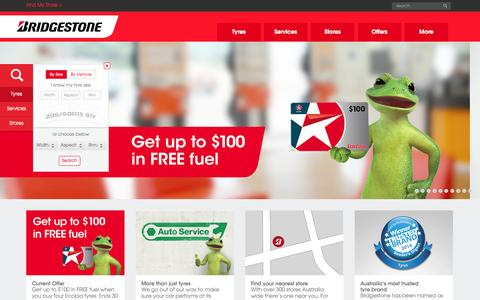 Screenshot of Home Page bridgestonetyres.com.au - Tyres - Car, 4x4 & Truck Tyres - Bridgestone Tyres Australia - captured Sept. 22, 2014