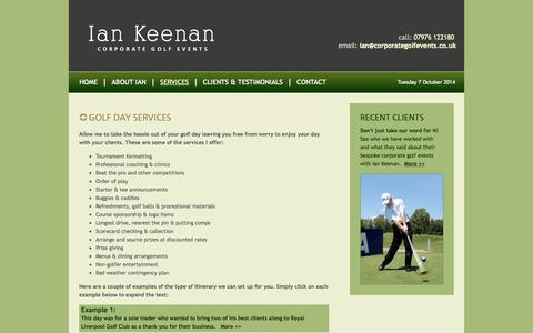 Screenshot of Services Page corporategolfevents.co.uk - Corporate Golf Day Events - Ian Keenan - captured Oct. 7, 2014