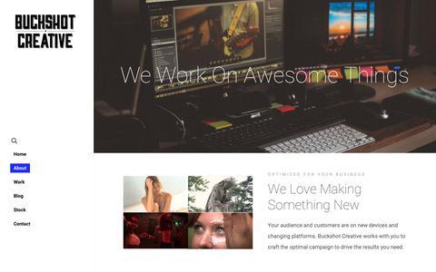 Screenshot of About Page buckshotcreative.com - About – Buckshot Creative LLC - captured Sept. 28, 2018