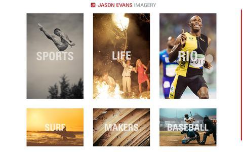 Screenshot of Home Page jasonevansimagery.com - Jason Evans Imagery- Photographer - captured June 8, 2017