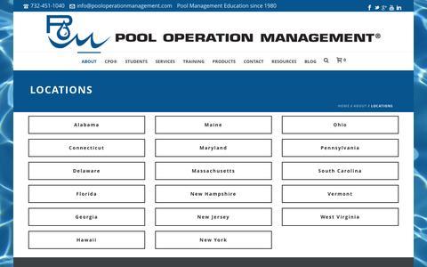 Screenshot of Locations Page pooloperationmanagement.com - Locations   Pool Operation Management - captured Dec. 10, 2015