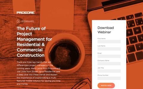 Screenshot of Landing Page procore.com - The Future of Project Management - captured April 17, 2018