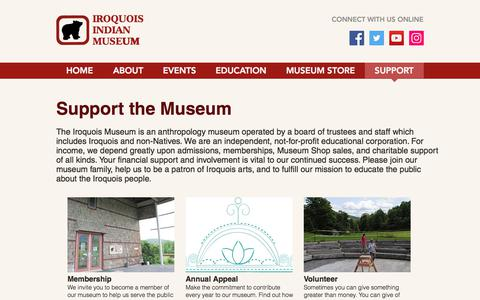 Screenshot of Support Page iroquoismuseum.org - Festivals, Calendar & Exhibits at the Iroquois Indian Museum NY - captured Oct. 15, 2017