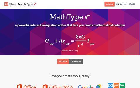 Screenshot of Pricing Page wiris.com - MathType - WIRIS Store - captured Oct. 8, 2018