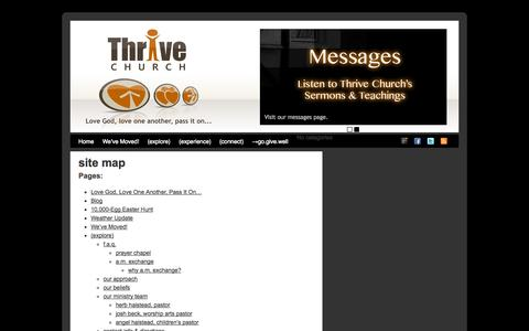 Screenshot of Site Map Page thrivecommunitychurch.com - Thrive Church, Jackson, TN | site map - captured Oct. 7, 2014