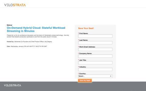 Screenshot of Landing Page velostrata.com - Webinar Registration - captured Nov. 4, 2016