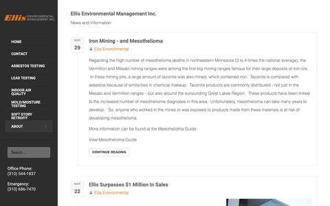 Screenshot of Blog ellisenvironmental.com - Recent blog posts - Ellis Environmental Management Inc. - captured Sept. 28, 2018