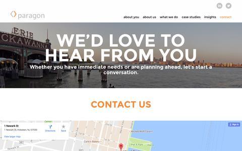 Screenshot of Contact Page paragonpr.com - Contact - Paragon - Paragon - captured Oct. 20, 2016