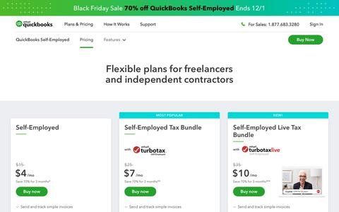 Screenshot of Pricing Page intuit.com - QuickBooks Self-Employed Pricing & Free Trial - captured Nov. 21, 2019