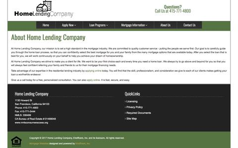 Screenshot of About Page homelending.com - About Our Company - Home Lending Company - captured Aug. 25, 2017